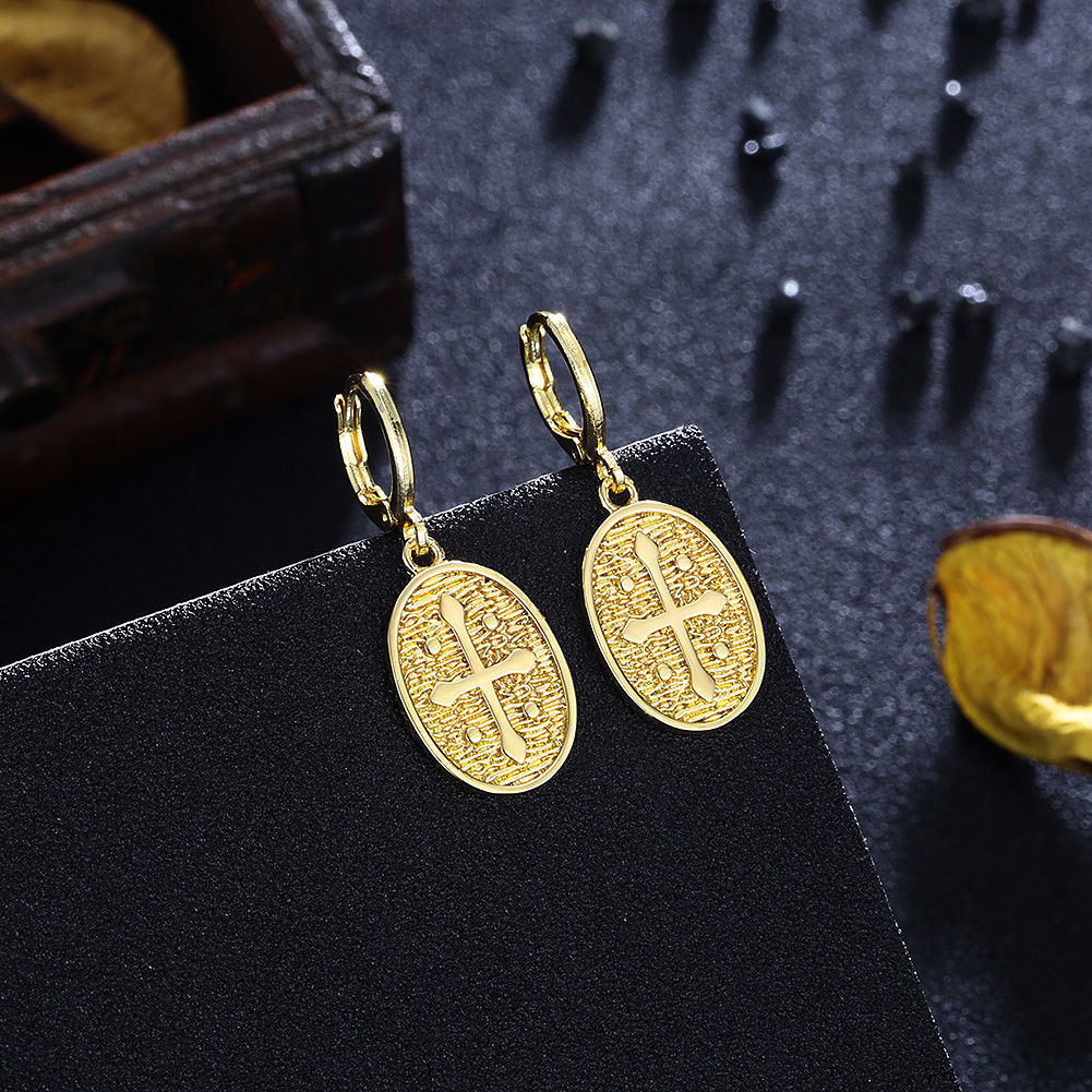 Primary image for Simple Bohemian Gold Finished Long Cross Shape Drop Dangle Post Earrings E0538G