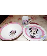 "DISNEY MINNIE ""BOWS GO WITH EVERYTHING"" PORCELAIN BOWL PLATE CUP SET OF 3 - $19.79"