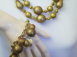 Art Necklace 2 Strand Gold Cork Wood Bead Bracelet Gold Plated Charm Vintage - $24.70