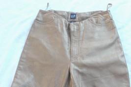 Gap Leather Women's 8 Metallic Soft Gold Straight Leg Leather Pants Lined EUC - $28.71