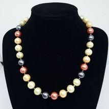 Faux Pearl Bead Statement Necklace Fashion Choker Costume Bib Multi Colo... - $8.97