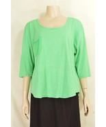 1 Fresh Produce top OSFM knit 3/4 sleeve green with tonal green stripes ... - $29.69