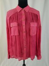 Free People women SP sheer blouse long sleeve button front shirt tie dye... - $27.72
