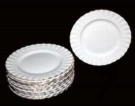 "12 Royal Albert VAL D'OR White Gold Ribbed Scalloped 6-1/4"" Plates Engla... - $79.99"