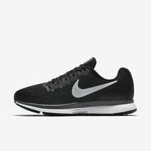 WOMEN'S NIKE AIR ZOOM PEGASUS 34 WIDE W SHOES black white grey 880561 001 - $74.98