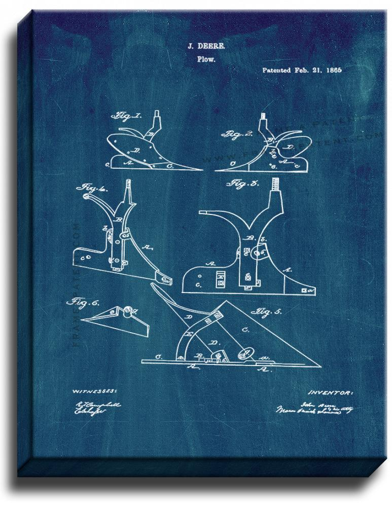 Primary image for John Deere Plow Patent Print Midnight Blue on Canvas