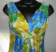 Vtg LAUHALA Hawaiian Hostess Dress Ladies Blue Green Gold Floral S - $49.01