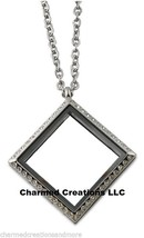 Stainless Steel Crystal CZ Square Floating Charm Locket Necklace Plus Chain - $29.69