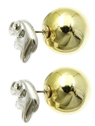 Rhinestone Eye Elephant Ball Earrings - Double Sided (Silvertone w/ Goldtone Bal