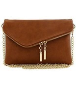 Envelope Wristlet Clutch Crossbody Bag With Chain Strap (Dark Tan) - £29.61 GBP