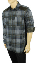 NEW MENS INC CONVERTIBLE SLEEVE MALCOM PLAID BLUE COTTON BUTTON FRONT SH... - $17.99