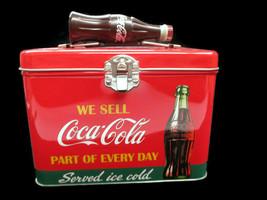 Coca-Cola Train Case Bottle Handle Latching Close Tea Caddy We Sell Coca... - $8.42