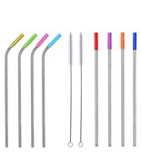 8pcs Reusable Drinking Straw Stainless Steel Bent Straight Cocktail Part... - $15.88+
