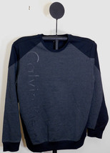 Calvin Klein Crew Neck Gunmetal Heather Colorblocked Angled-Logo Sweater... - $24.95