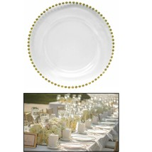 1pc Glass Charger Plate Beaded Gold Xmas Events Weddings Tableware 33cm ... - $13.38