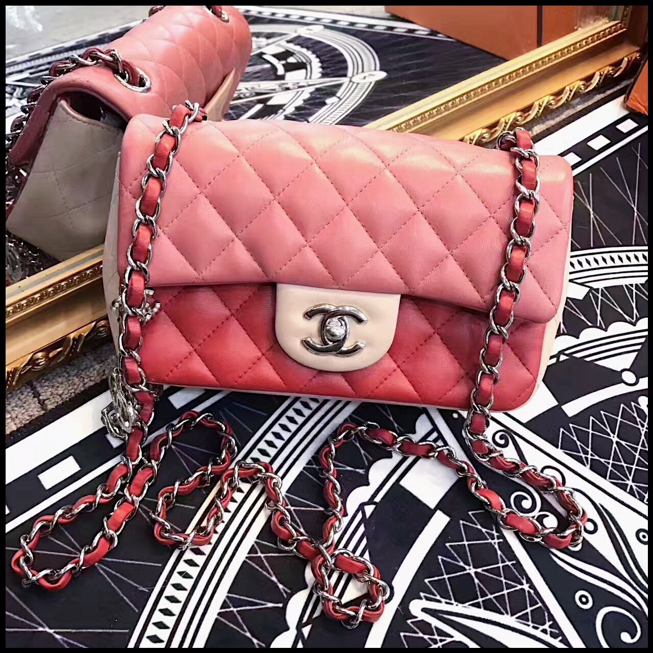 90b74b4e67d6db AUTHENTIC CHANEL LIMITED EDITION TRICOLOR QUILTED LAMBSKIN LARGE ...