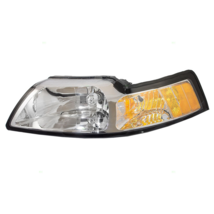 Halogen Headlight Chrome LH (Driver Side) Fits 1999 2000 Ford Mustang - $49.00