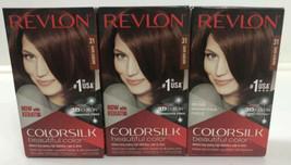 3 Revlon ColorSilk Hair Color Dye #31 Dark Auburn Permanent 3D Gel Technology - $22.87
