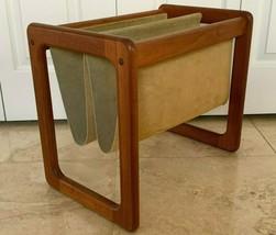 Mid Century Vintage Danish Denmark Teak Wood and Suede Magazine Rack Holder - $149.00