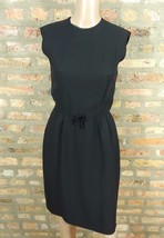 Vtg 50s Bobbie Brooks Black Bow Crepe Sheath Wiggle Bombshell Cocktail Dress XS - $11.30