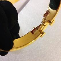 Authentic Hermes 2015 Black Enamel Gold H Clic-Clac Bracelet PM image 4