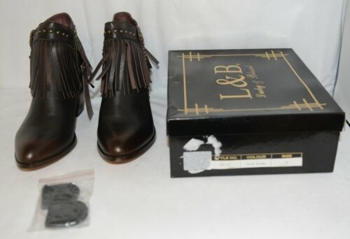 Lucky And Blessed SH11 Dark Brown Leather Boots Fringe Metal Studs Size 11