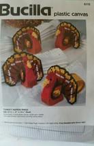 BUCILLA Plastic Canvas Needlework TURKEY NAPKIN RINGS Set of 4 - $19.79