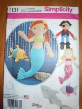 Simplicity Stuffed Mermaid Pirate Shark & Fish #1131 Uncut - $6.99