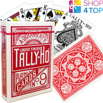 BICYCLE TALLY HO FAN BACK PLAYING CARDS DECK RED STANDARD INDEX LINOID NEW - $8.11