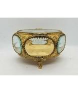 Vintage Large Round Glass Brass Filigree Ormolu Jewelry Casket Trinket Box - $222.75