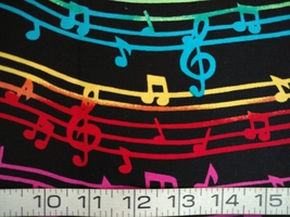1/2yd music/colorful notes/staff/treble clef on black quilt fabric-free shipping image 3