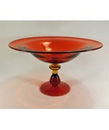 """Stunning MCM Amberina Art Glass Large Bowl Footed Compote 12"""" Flared Rim... - $123.75"""