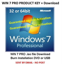 Windows 7 PROFESSIONAL 32/64bit Activation Key - From Genuine Licence Label - $6.50