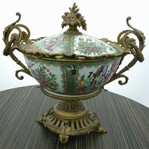 Antique Chinese Famille Rose Medallion Bronze Mounted Centerpiece w/Lid - $2,754.10