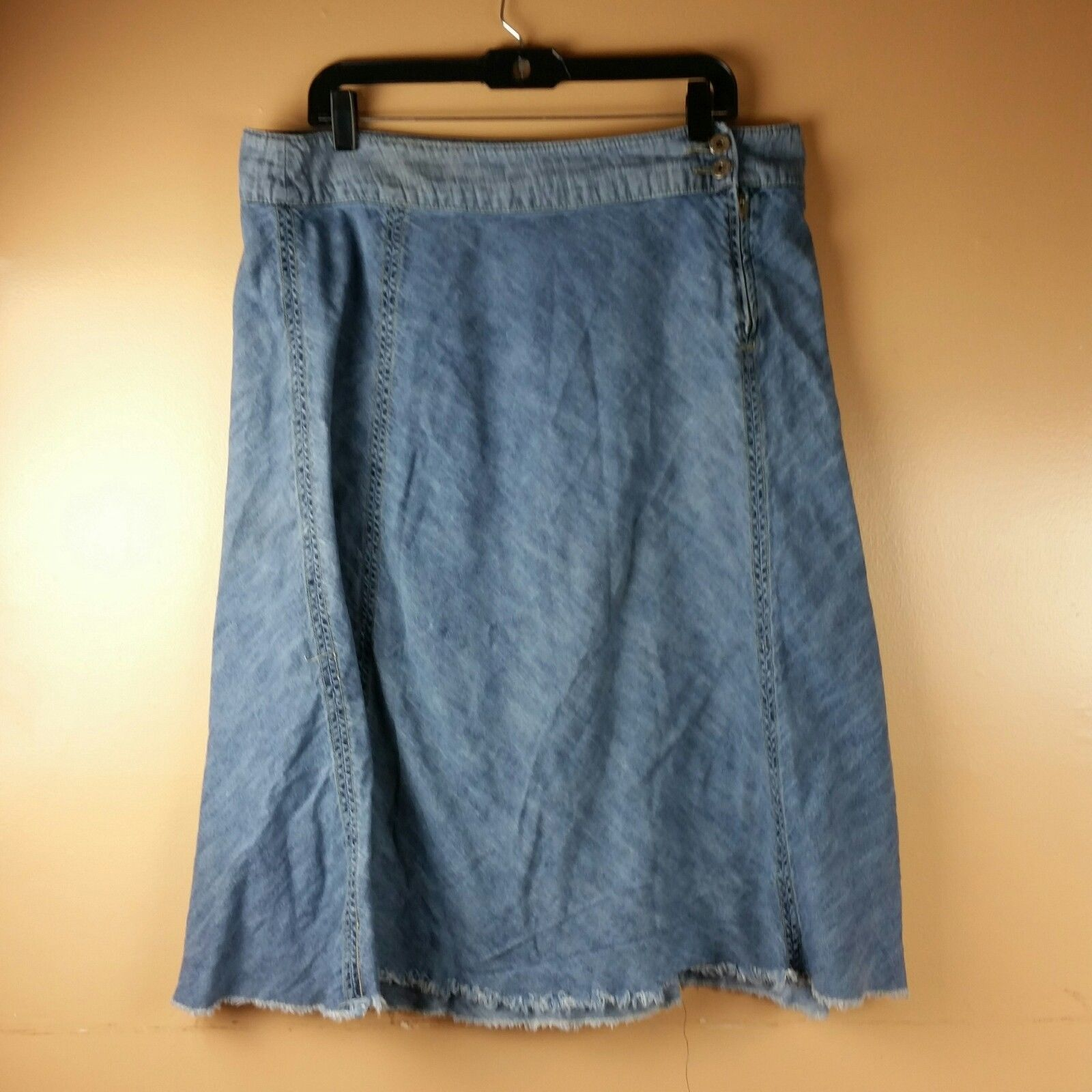 LEE Jean Skirt Womens One True Fit Modest Denim Fringe Hem Size 15/16M image 6