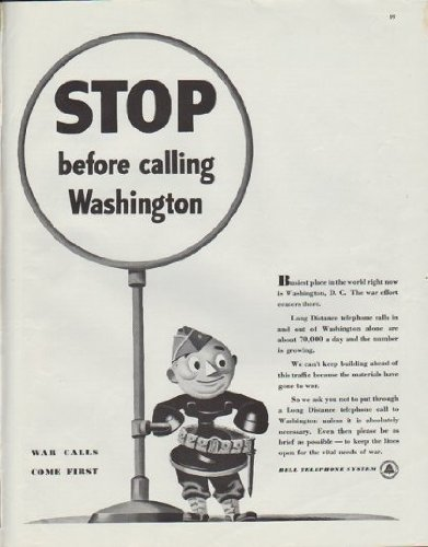 """1942 Bell Telephone Ad """"STOP before calling Washington"""""""