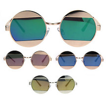 Cropped Color Mirror Lens Round Circle Hippie Metal Sunglasses - $14.95