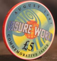 "5 Pounds Casino Chip from: ""Grosvenor's Casino Leisure World"" - (sku# 2994) - $2.99"