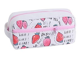 Strawberry Pattern Imitation Leather Simple Creative Large Capacity Penc... - $13.64