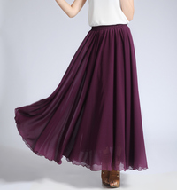 CHIFFON MAXI SKIRT Gray Black Blackberry Maxi Silk Chiffon Skirt Wedding Skirts image 3