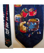 Vintage 40s tie with handpainted anthropomorphic drums - $32.50