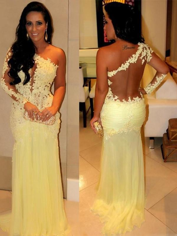 yellow prom Dress,one shoulder Prom Dresses,formal Evening Dresses