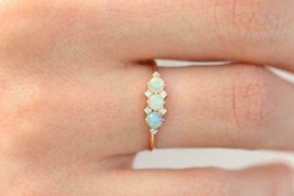 0.30 Ct Round Cut Fire Opal & Diamond Engagement Ring 14K Yellow Gold Over - $77.22