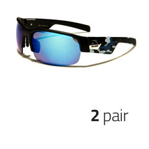 2 Pc Camouflage Sports Hunting Outdoors Sunglasses Duck Dynasty White Camo Blue - $10.99