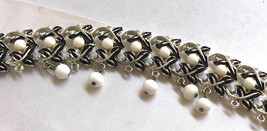 "VTG Coro signed Silver Tone Metal White Glass beads link bracelet 7""L - $54.45"
