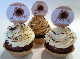 Rustic Farmhouse Fake Cupcakes Set of 3  Decoration Prop Double Vanilla Set - $16.82