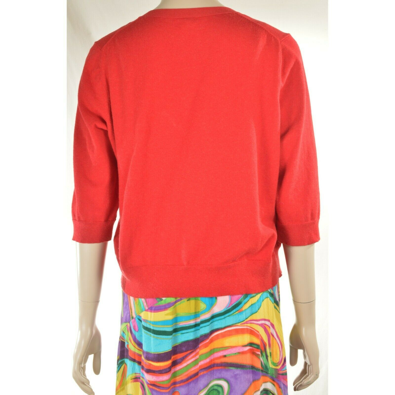 Eileen Fisher sweater M red cardigan 3/4 sleeves organic cotton cashmere blend image 3