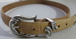 Coldwater Creek Croc Embossed Beige Leather Belt Size L - $13.85