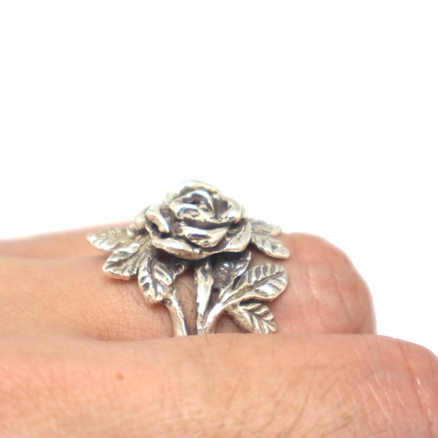 Silver Flower Rose Ring image 2