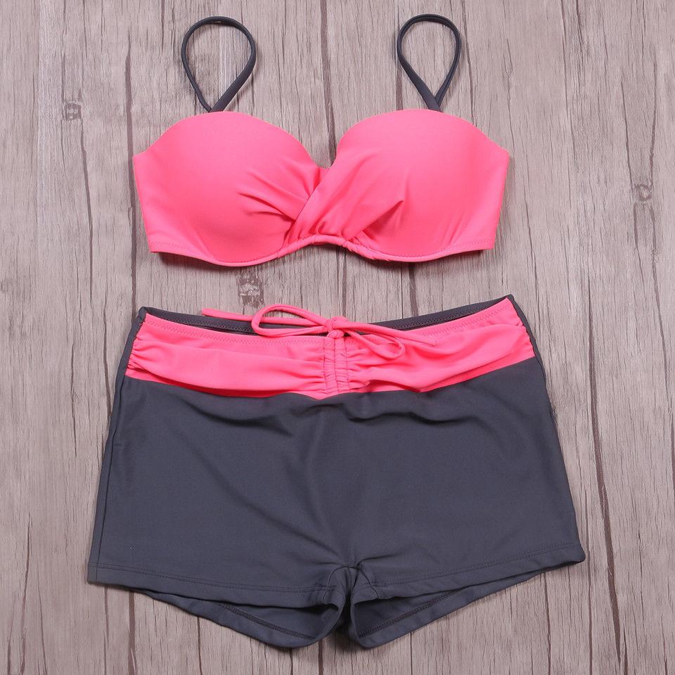 Bikini Push Up Swimwear Women Swimsuit Beach Swimming Shorts Bra Plus Size Suit